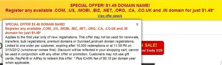 Godaddy 再次放出特价域名优惠码1.49美元注册.com等9种域名